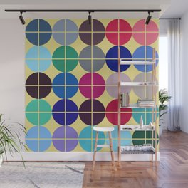Multicolor Dots on Grid Wall Mural