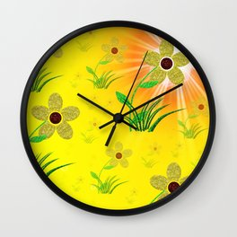 flower,abstract pattern in metal Wall Clock
