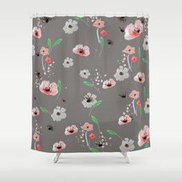 Watercolor Garden Grey Shower Curtain