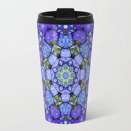 Garden mosaic kaleidoscope 2 - blue tones Travel Mug