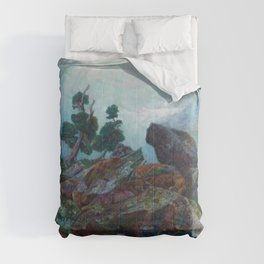 Weather chirping on cyclone rock landscape painting by Emilie Mediz-Pelikan Comforters