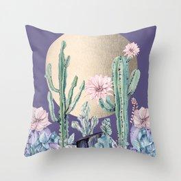Desert Sun Cactus + Succulents Gold Deep Purple Throw Pillow