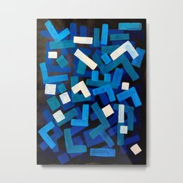 "Original Abstract Acrylic Painting by Ejaaz Haniff ""Blue Jazz"" Blue Geometric Colorful Pattern On Bl Metal Print"