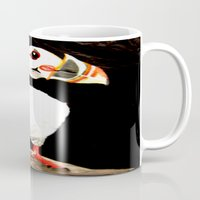 puffin Mugs featuring Puffin by  Alexia Miles photography
