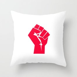 Raised fist, black power, fight for your rights (red version) Throw Pillow