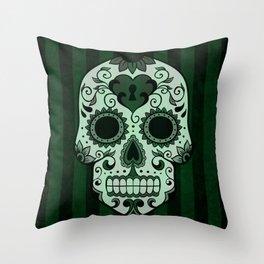 Día de los Muertos in Emerald Green Throw Pillow
