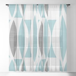 Seventies in aqua Sheer Curtain