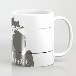 Michigan is Home - Charcoal on White Wood Coffee Mug