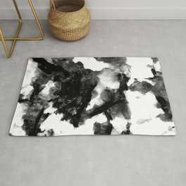 "French Black Marble - ""Marbre Noir"" - On White Background Rug"