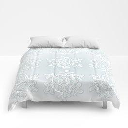 Crocheted Snowflake Ornaments on teal mist Comforters