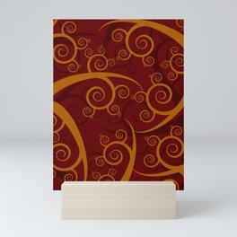 Red Swirl Pattern Mini Art Print