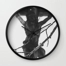 Passion of Jesus, Black and White, Christ Crucified, Catholic Art  Wall Clock