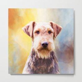 Airedale Dog Watercolor Art Portrait Metal Print