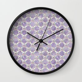 Roses & Forget Me Nots Wreath Purple Wall Clock