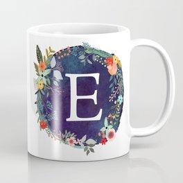 Personalized Monogram Initial Letter E Floral Wreath Artwork Coffee Mug