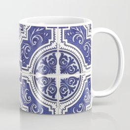 Rustic Vintage Portuguese Tiles Pattern - Azulejo Blue and White Coffee Mug