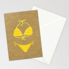 Yellow Polka Dot Bikini on Kraft Stationery Cards