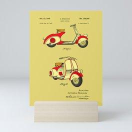 Motor Bicycle Patent Circa 1949 - RED Mini Art Print