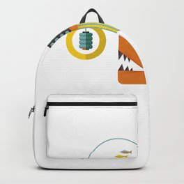 Angler fish vintage Illustration with small fish  Backpack