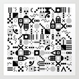 Memphis Black and White Playful Pattern Art Print