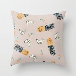 Tropical Fruit Salad Throw Pillow