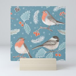 Robins and Frosted Leaves Mini Art Print