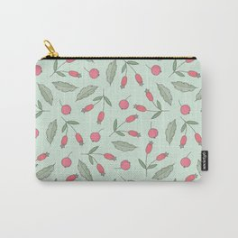 Vintage green leaves coral berries floral pattern Carry-All Pouch