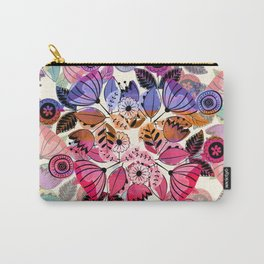 Pink and indigo flower pattern Carry-All Pouch