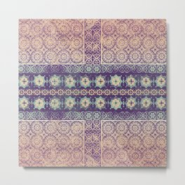 tile patchwork with center star line pale Metal Print