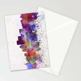 Rochester NY skyline in watercolor background Stationery Cards