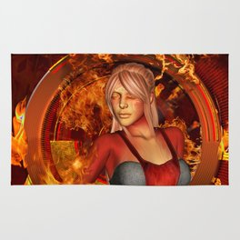 The awesome fire girl , fire on the background Rug