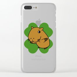 Capybara On 4 Leaf Clover- St. Patricks Day Pun Clear iPhone Case