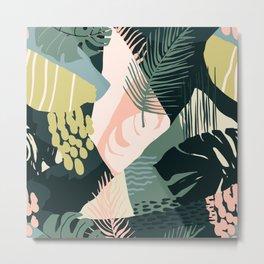 Tropical Painting in Earthtones: Muted Greens, Mustard & Salmon Metal Print