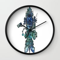 spaceship Wall Clocks featuring Spaceship  by Joseph Kennelty