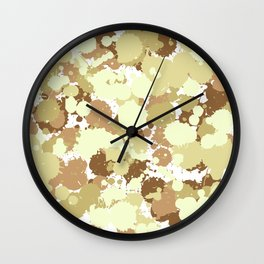 Brown Ink Splashes  Wall Clock