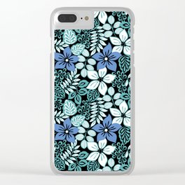 Tropical Floral Aqua Clear iPhone Case
