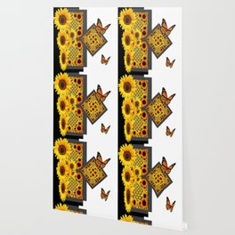 GOLD SUNFLOWERS & MONARCH BUTTERFLIES ART DECO Wallpaper