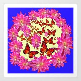 Blue & Yellow Butterflies  Pink Flowers Pattern Art Art Print