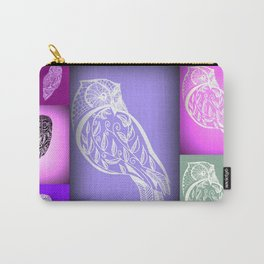 purple owls with pink and green Carry-All Pouch