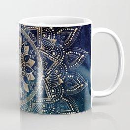 Elegant Gold Mandala Blue Galaxy Design Coffee Mug