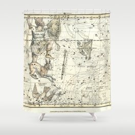 Orion, Lepus, Columba Constellations, Celestial Atlas Plate 23, Alexander Jamieson Shower Curtain