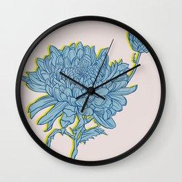 Chrysanthemum in Blue Wall Clock