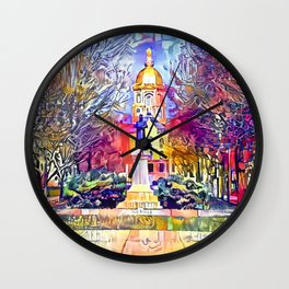 Father Sorin Statue on Notre Dame Main Quad Wall Clock