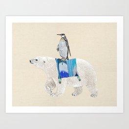 Polar Bear with penguin  Art Print