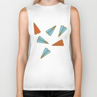 planes Biker Tanks featuring Paper Planes by evannave