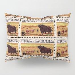 Rural America cattles herd vintage US post stamp Pillow Sham