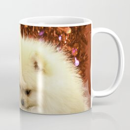 Two Pomeranian Puppies Snuggling Each Other in Front of a Red Heart Valentine's Day Background Coffee Mug