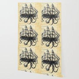 Kraken Octopus Attacking Ship Multi Collage Background Wallpaper