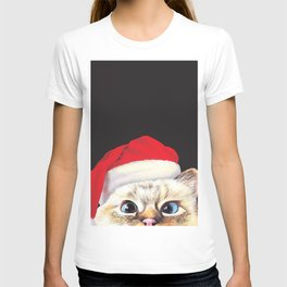 Peeking Santa Cat T-shirt