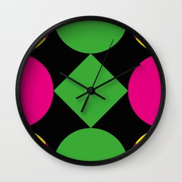 A green square being touched by two half-circles, surrounded by a Yellow Veil. Wall Clock